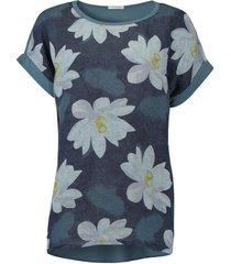 t-shirt summer flower donkerblauw