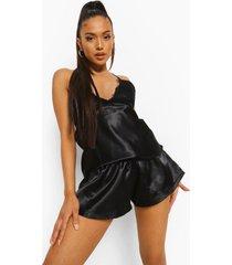 petite pyjama set met shorts, open rug en kanten zoom, black