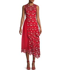 embroidered lace asymmetric dress