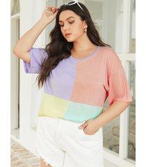 yoins plus talla crew cuello camiseta de media manga con bloques de color