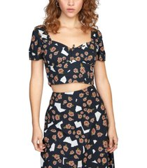 rvca printed annola smocked cropped top