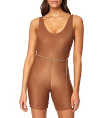 weworewhat women's scoopneck bodysuit - tan - size s