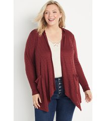 maurices plus size womens red textured hooded cardigan