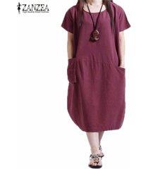 zanzea verano de las mujeres vestido sólido floja ocasional más el tamaño s-5xl de manga corta del o-cuello vestidos vestidos (claret) -rojo