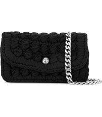 bottega veneta crochet shoulder bag - black