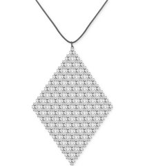 "guess hematite-tone rhinestone mesh long pendant necklace, 32"" + 2"" extender"