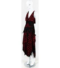 red & black crepe sleeveless polka dot v neck dress