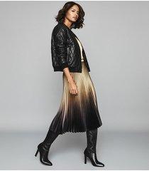 reiss marlene - ombre pleated midi skirt in gold/black, womens, size 10
