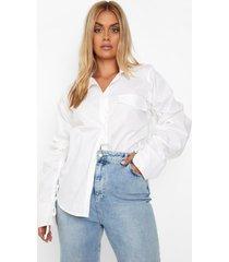 plus geplooide mouwen oversized shirt, white