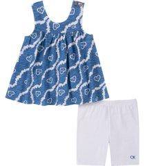 calvin klein toddler girls tie-dye babydoll tunic top and knit logo shorts set, 2 piece