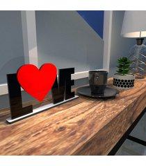 escultura de mesa preto love heart vermelho ãšnico - multicolorido - dafiti