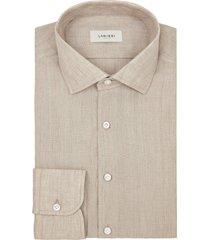 camicia da uomo su misura, canclini, lino tinta unita beige, primavera estate | lanieri