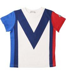 moncler short sleeve t-shirt m blue-ivory-red