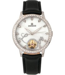empress quinn automatic black leather watch 41mm