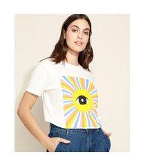 t-shirt feminina mindset olho manga curta decote redondo off white