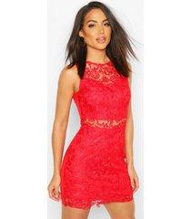 crochet mini dress, red