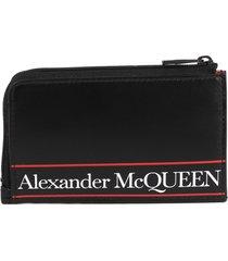 alexander mcqueen black leather logo print purse