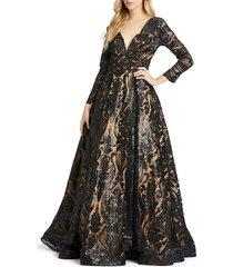 mac duggal women's burnout damask ball gown - black - size 14