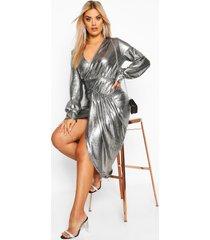 plus metallic plunge long sleeve wrap detail dress, silver