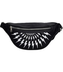 neil barrett thunderbolt waist bag in black nylon