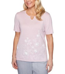 alfred dunner petite primrose garden embroidered sweater