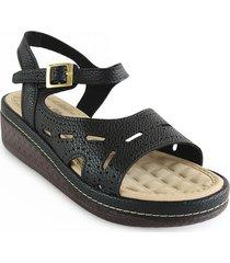 sandalia plataforma casual tipo confort para dama color negro 6922080negro