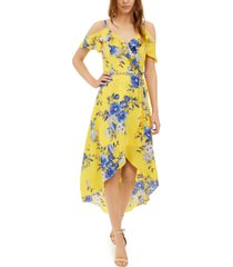 bcx juniors' floral-print high-low dress
