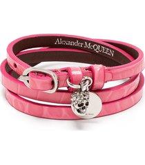 alexander mcqueen skull-motif wrap-around bracelet - pink