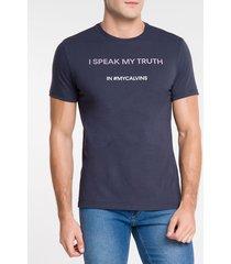 camiseta masculina i speak my truth azul marinho calvin klein jeans - pp