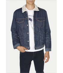 new levi's men's sherpa blue jean denim trucker jacket fur lucky town