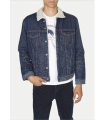 new levi's men's sherpa blue jean denim trucker jacket fur lucky town