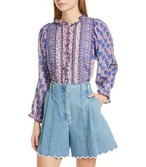 women's sea bianca ruffle trim mixed print blouse, size 10 - purple