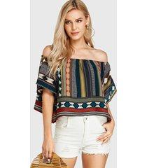 yoins blusa con hombros descubiertos y estampado tribal multicolor
