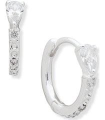 "anne klein silver-tone small pave & cubic zirconia huggie hoop earrings, 0.55"""