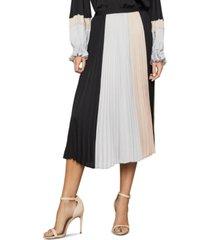bcbgmaxazria colorblocked pleated midi skirt