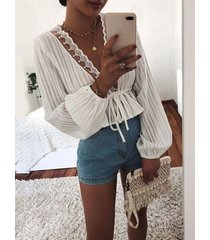 white crochet lace embellished deep v neck blouse