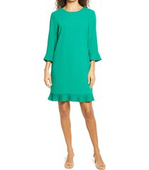 cece pleat detail moss crepe shift dress, size x-large in vibrant kelly at nordstrom