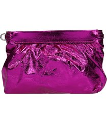 isabel marant miniluz clutch in rose-pink leather