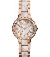 fossil 'virginia' resin link crystal bezel bracelet watch, 30mm in horn/rose gold at nordstrom