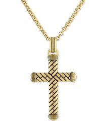 """esquire men's jewelry textured cross 22"""" pendant necklace in 14k gold over sterling silver, created for macy's"""