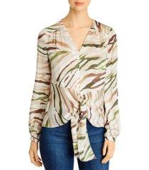 eli tahari kali silk printed tie-front blouse