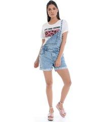 jardineira shorts pkd concept jeans claro - azul - feminino - dafiti