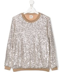 caffe' d'orzo sequin sweatshirt - silver