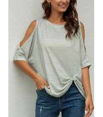 twist diseño camiseta de media manga con hombros fríos