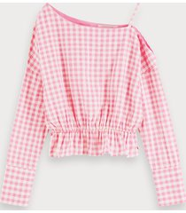 scotch & soda asymmetric checked top