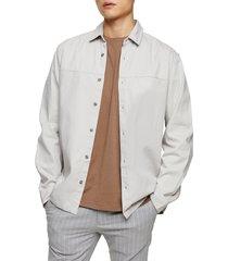 men's topman slim fit twill button-up shirt, size xx-large - grey