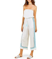 surf gypsy women's strapless wide-leg jumpsuit coverup - white teal - size l
