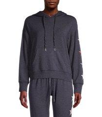 for the republic women's star-print raglan-sleeve hoodie - charcoal - size l