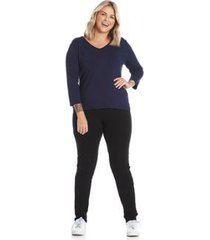 calça legging rovitex plus size básica cotton pesado feminina