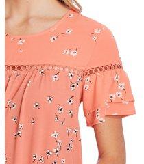 cece embellished floral-print top